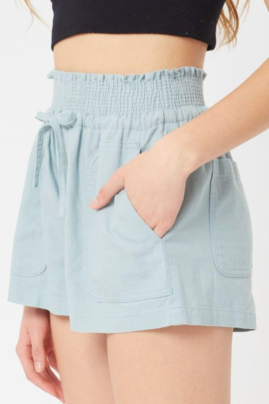 Love Tree Smocked Wasitband Linen Shorts - Back Cropped Image
