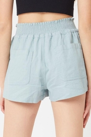 Love Tree Smocked Wasitband Linen Shorts - Side cropped