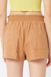 Love Tree Smocked Wasitband Linen Shorts - Front full body