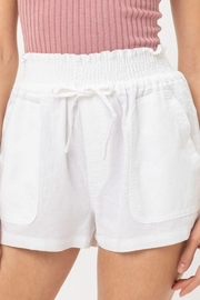 Love Tree Smocked Wasitband Linen Shorts - Front cropped