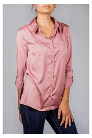 Love Tree Smooth Satin Button-Down - Front full body