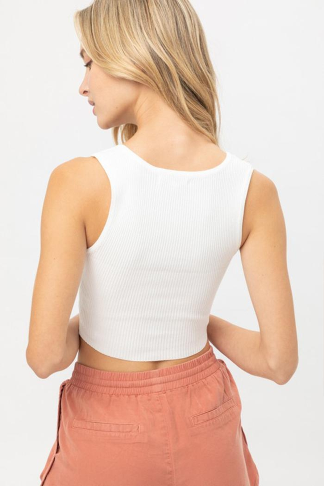 Love Tree Snap Button Crop Top - Front Full Image