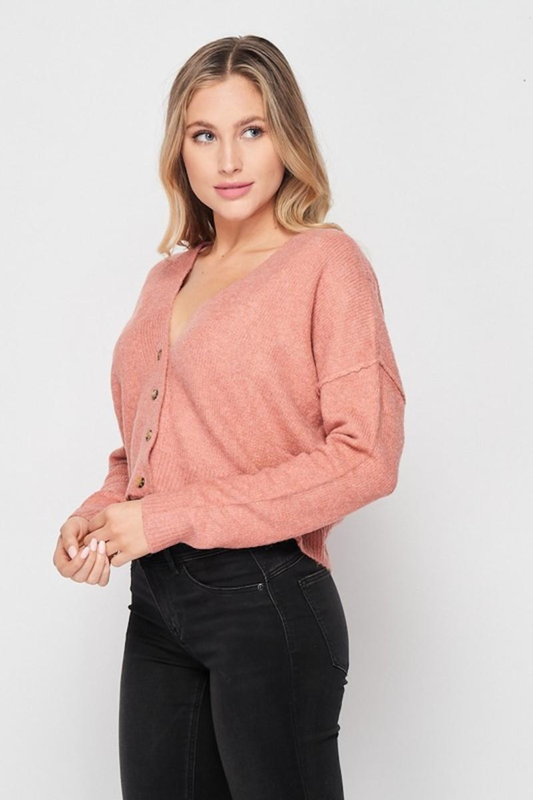 Love Tree Soft Button Down Cardigan - Side Cropped Image