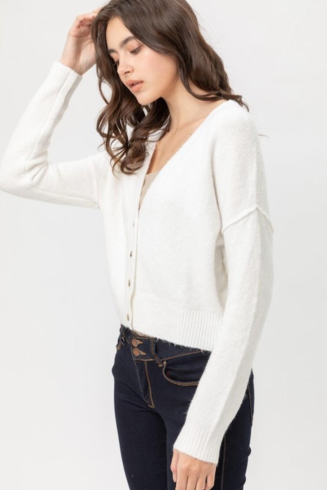 Love Tree Soft Button Down Cardigan - Front Full Image