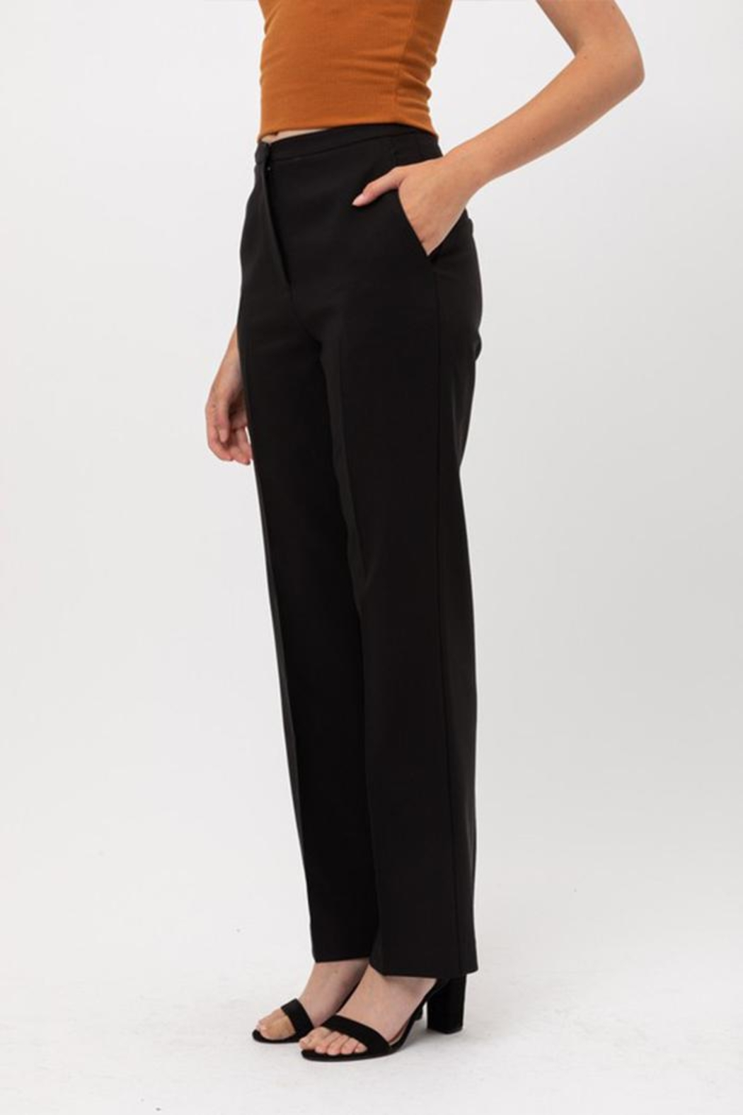 Love Tree Solid Formal Trousers - Side Cropped Image