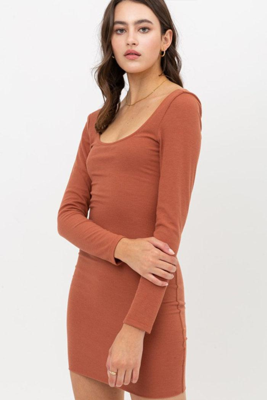 Love Tree Solid Rib Dress - Front Cropped Image