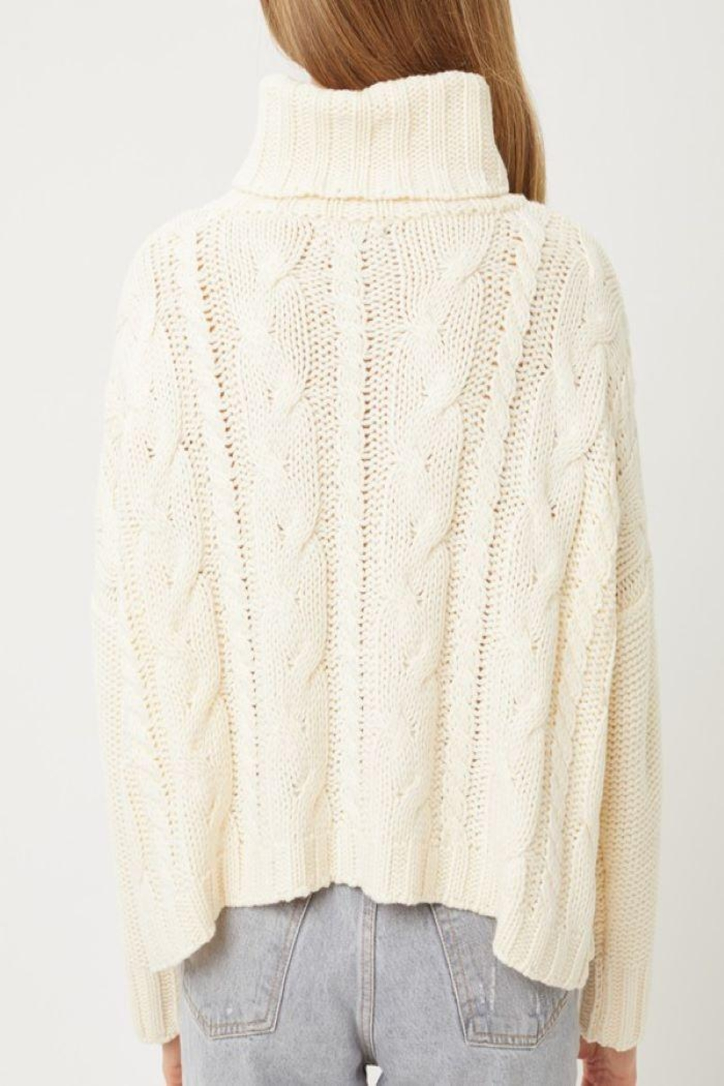 Love Tree Solid Turtleneck Warm Knit Top - Front Full Image