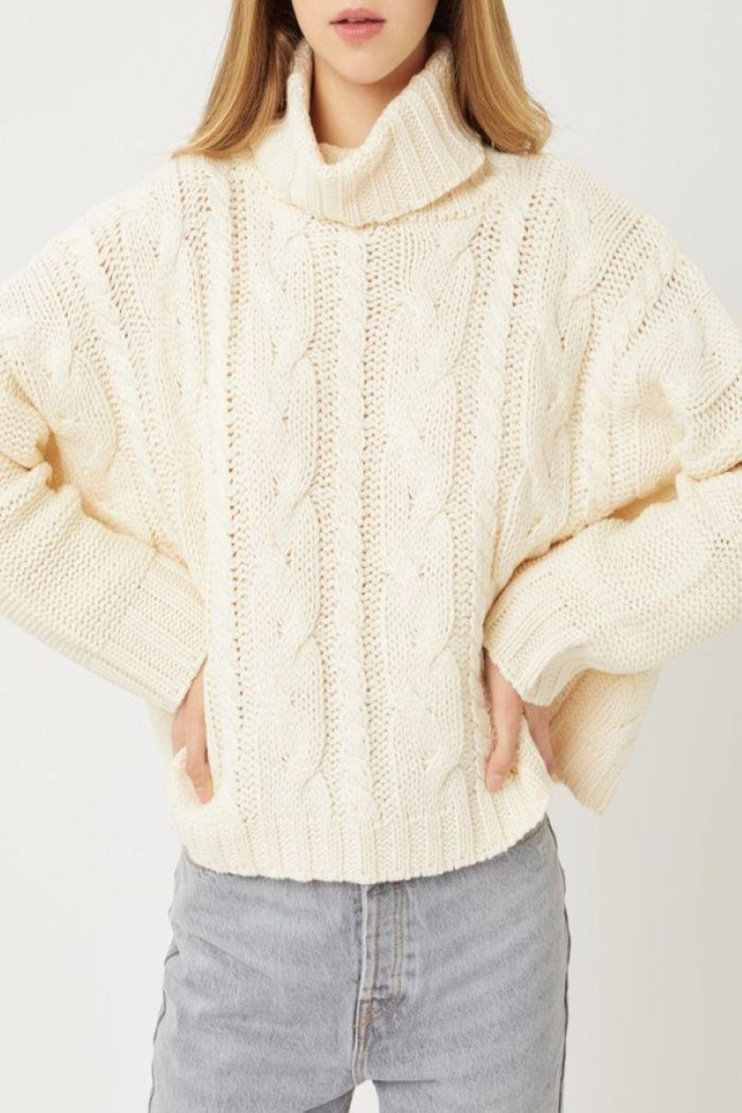 Love Tree Solid Turtleneck Warm Knit Top - Front Cropped Image