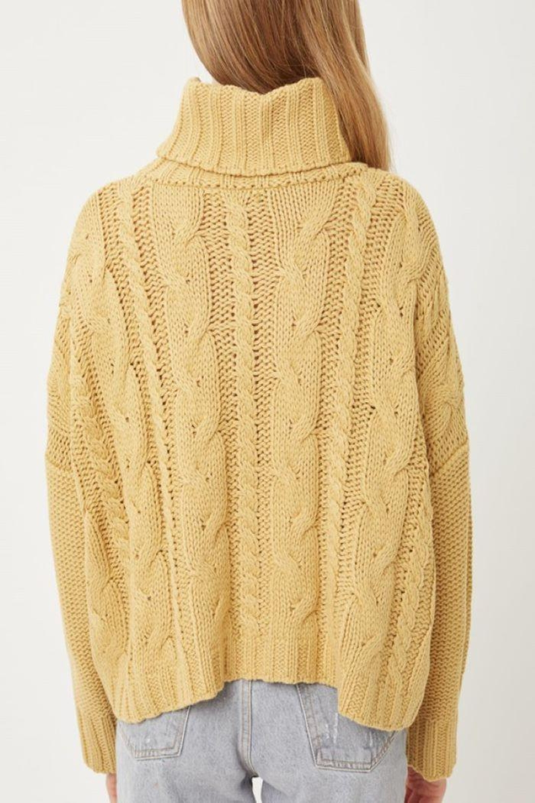 Love Tree Solid Turtleneck Warm Knit Top - Side Cropped Image