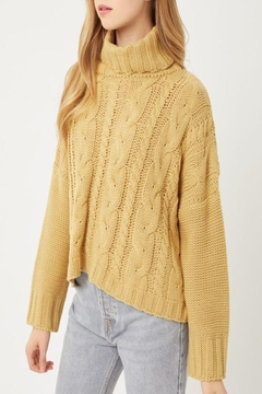 Love Tree Solid Turtleneck Warm Knit Top - Product List Image