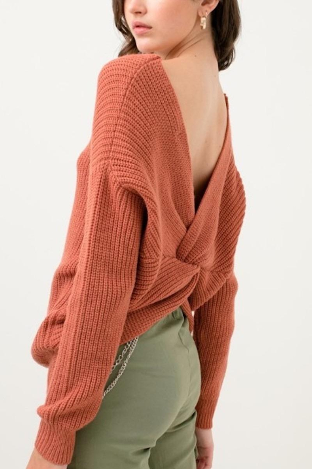 Love Tree Sweater With a Twist - Back Cropped Image