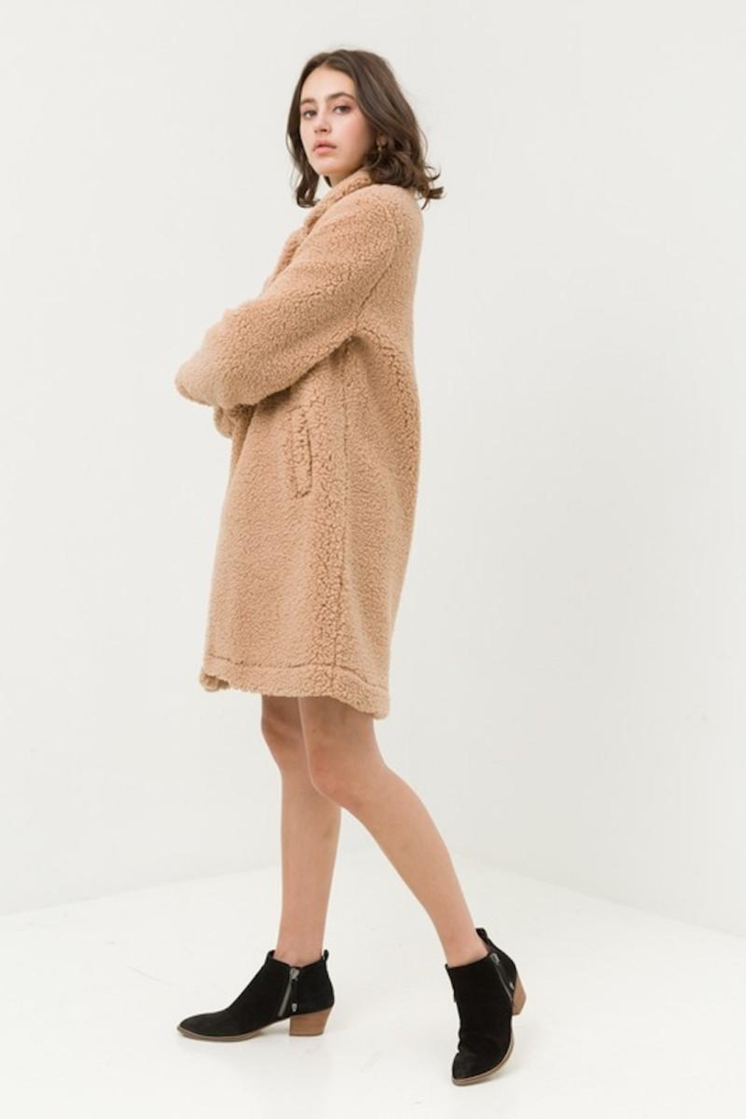 Love Tree Teddy Camel Coat - Side Cropped Image