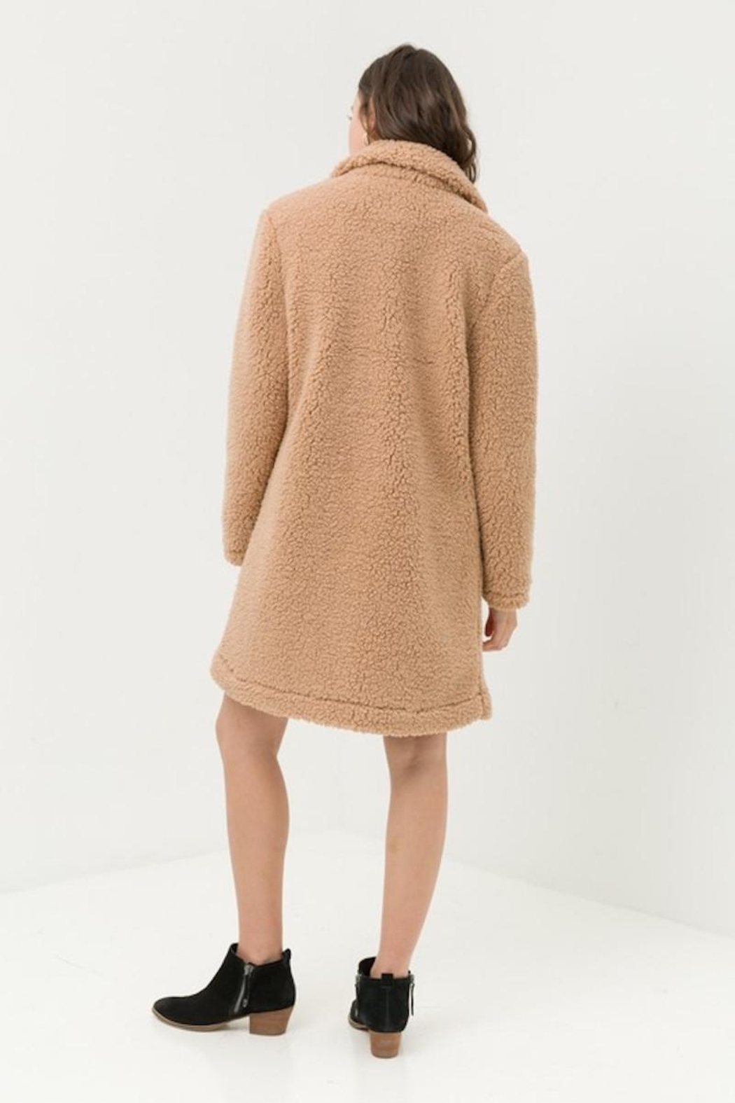 Love Tree Teddy Camel Coat - Back Cropped Image