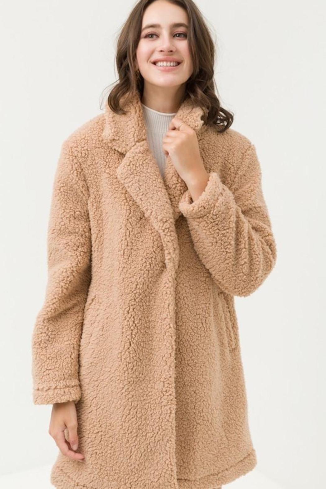 Love Tree Teddy Camel Coat - Main Image