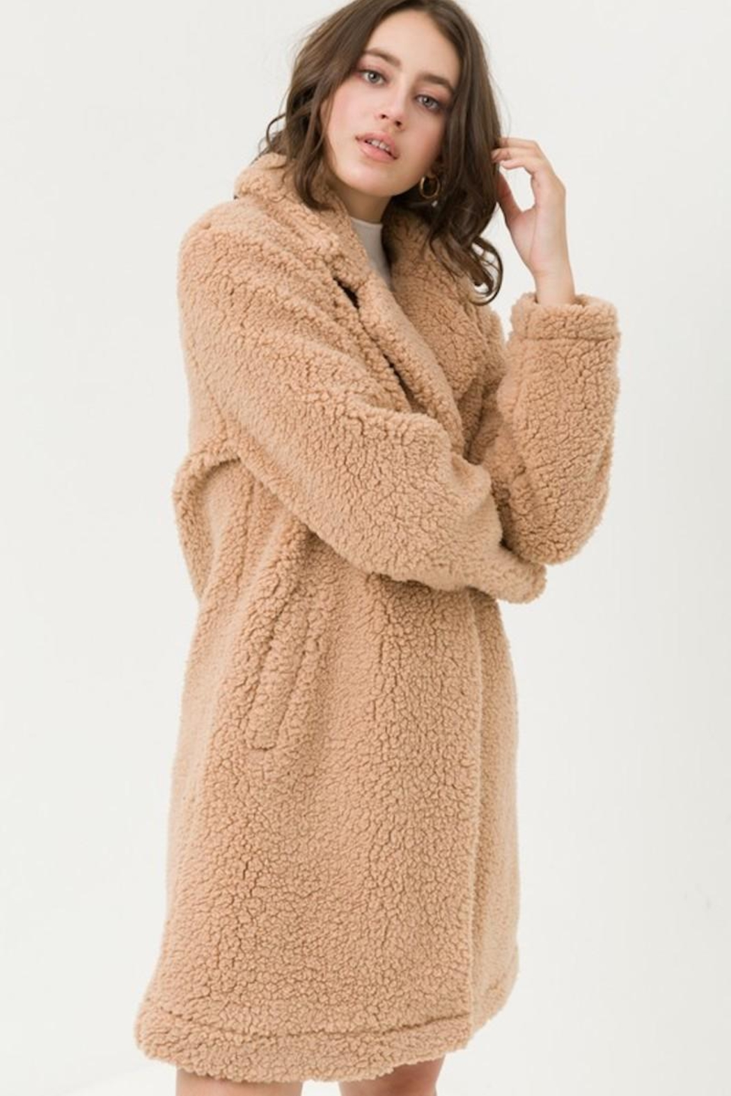 Love Tree Teddy Camel Coat - Front Full Image
