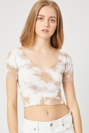 Love Tree Tie Dye Plunge Neck Short Sleeve Crop Top - Product Mini Image