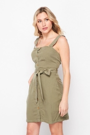 Love Tree Tie Waist Thin Strap Button Front Dress - Product Mini Image