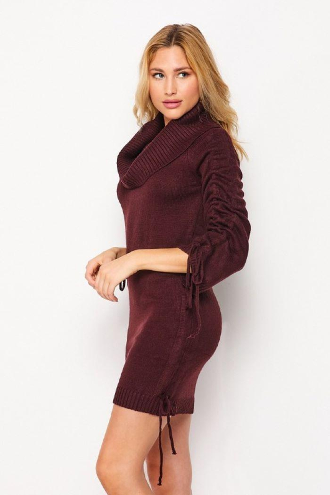 Love Tree Turtleneck Fitted Casual Long Dress - Back Cropped Image