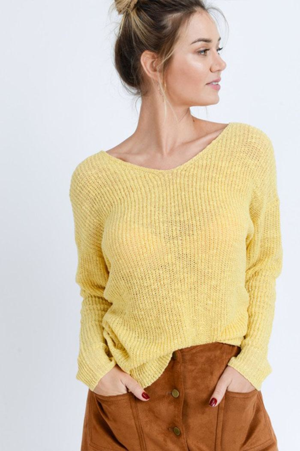 Love Tree Twist Back Sweater - Front Cropped Image