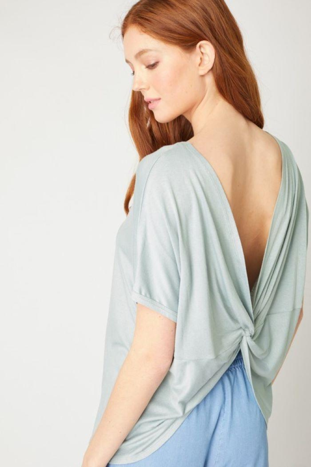 Love Tree Twisted Back Knit Top - Front Full Image