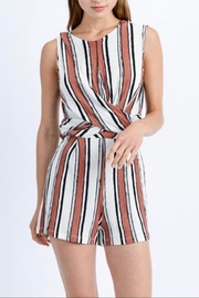 Love Tree Twisted-Front Striped Romper - Product Mini Image