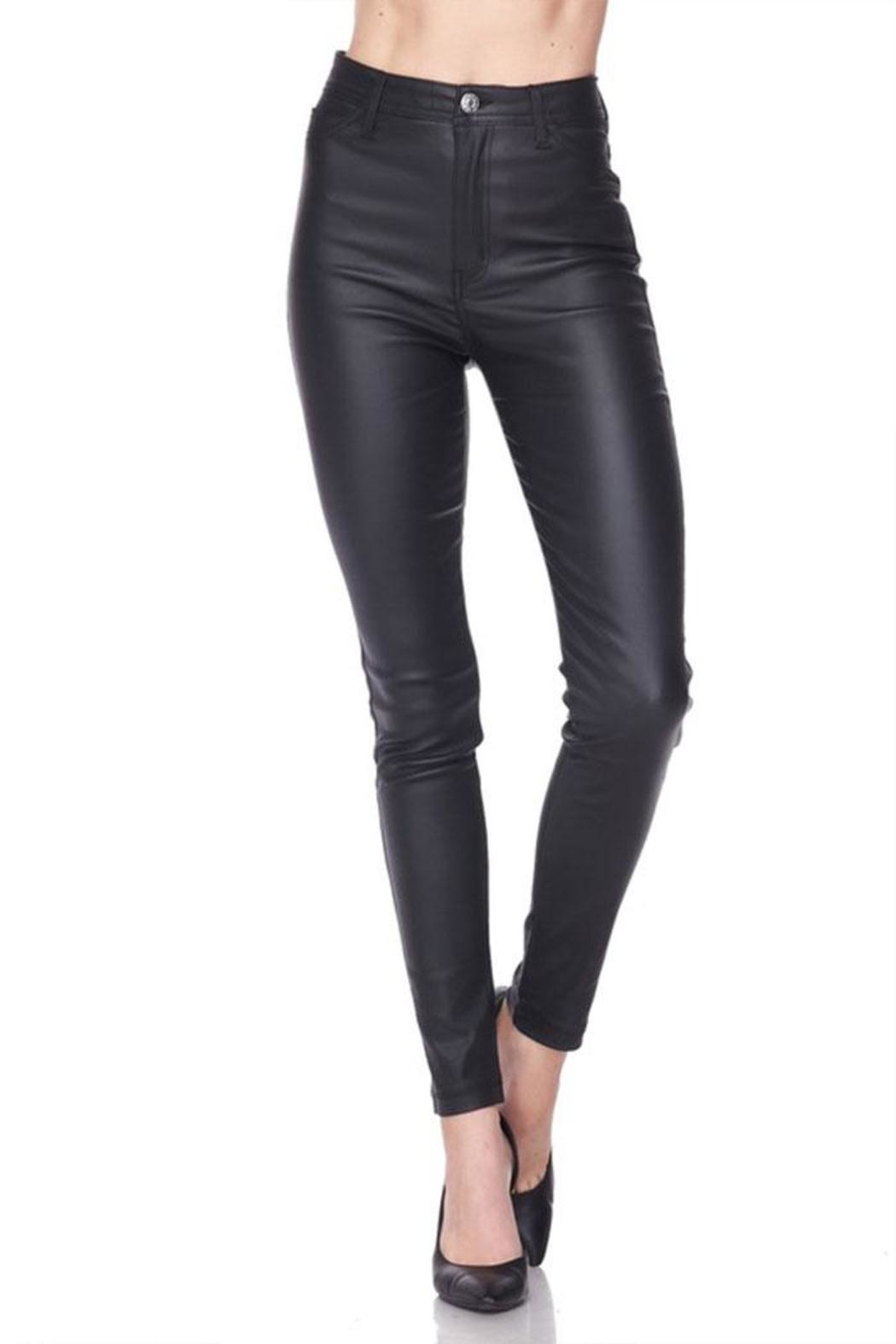 Love Tree Vegan Leather Pants - Front Cropped Image