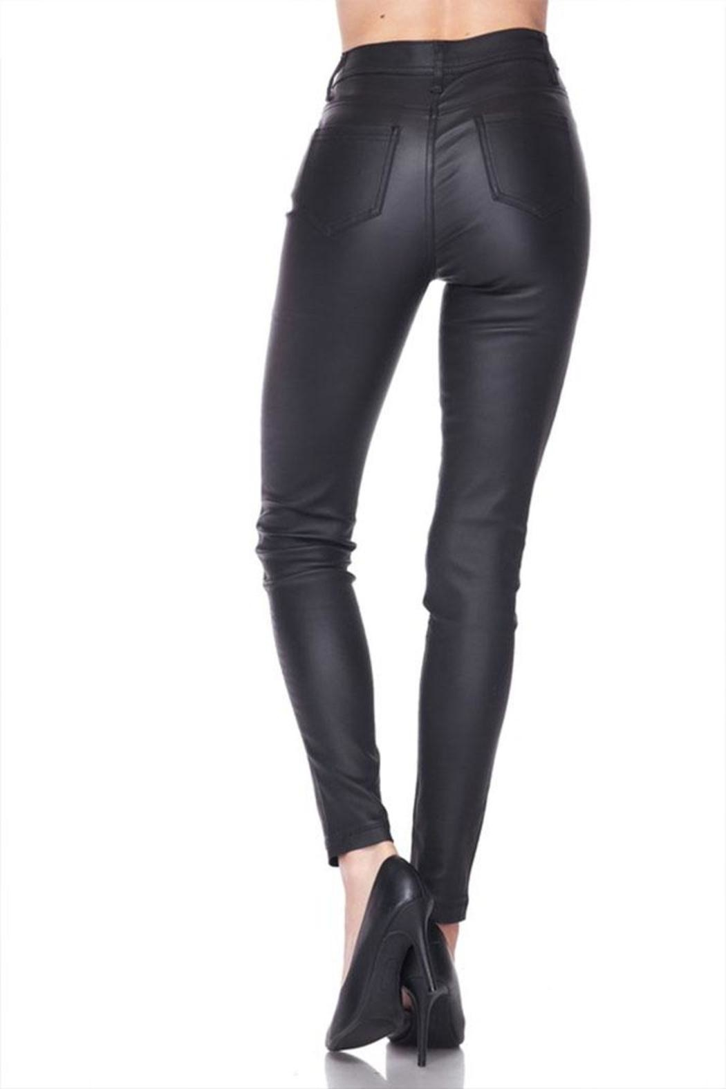 Love Tree Vegan Leather Pants - Side Cropped Image