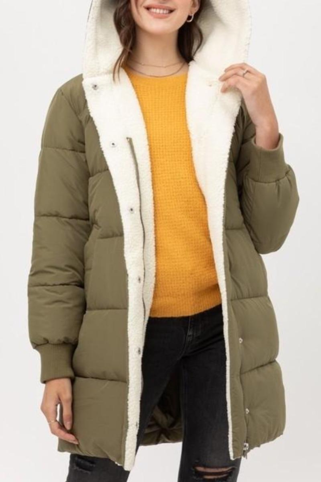 Love Tree Warm Regards Lined Puffer Coat In Olive - Main Image