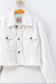 Love Tree White Denim Jacket - Front cropped