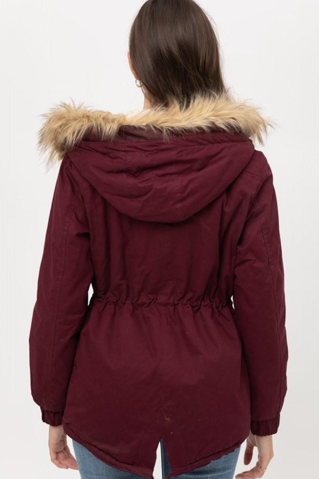 Love Tree Wine Fur Parka Coat - Back Cropped Image