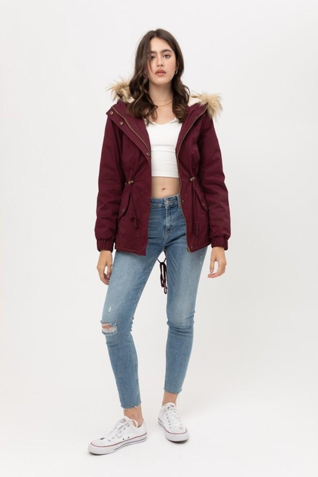 Love Tree Wine Fur Parka Coat - Side Cropped Image