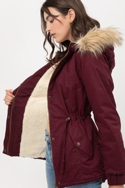 Love Tree Wine Fur Parka Coat - Front full body