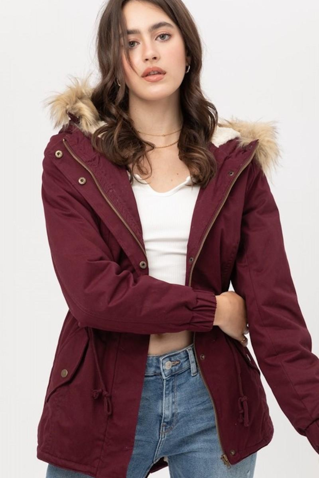 Love Tree Wine Fur Parka Coat - Front Cropped Image