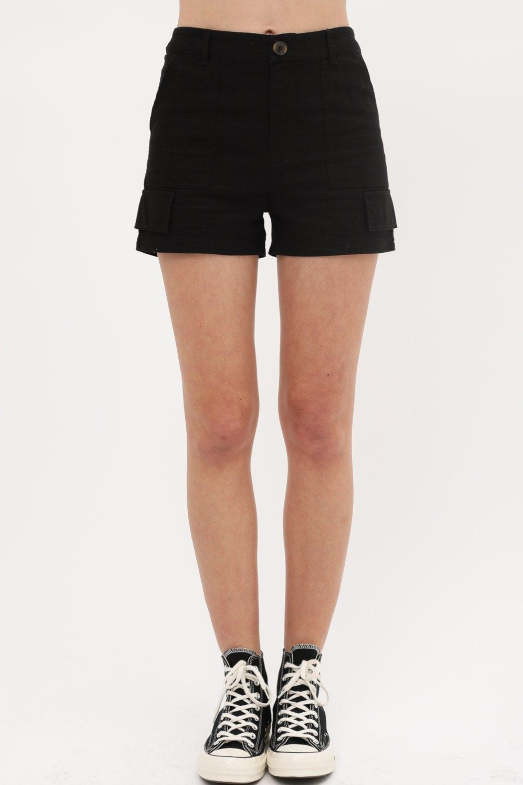 Love Tree Woven Button Front Pocket Detail Short (3 Colors) - Front Cropped Image
