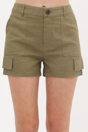 Love Tree Woven Button Front Pocket Detail Short (3 Colors) - Front cropped