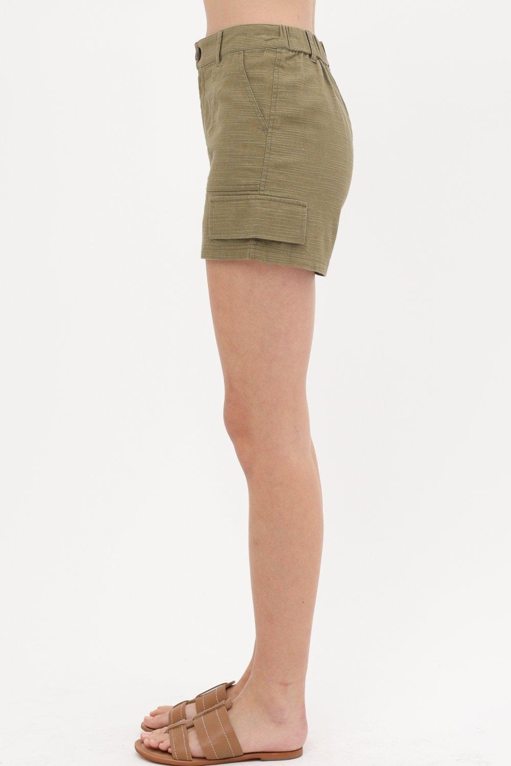 Love Tree Woven Button Front Pocket Detail Short (3 Colors) - Front Full Image