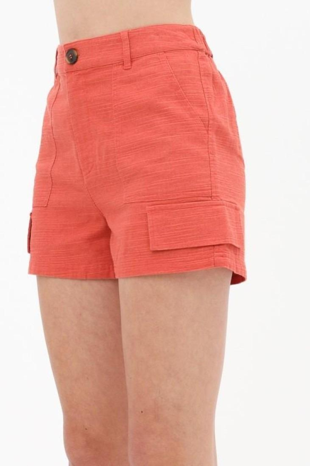 Love Tree Woven Button Front Pocket Detail Short (3 Colors) - Main Image