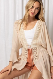Love Tree Woven Fashionable Cardigan - Back cropped
