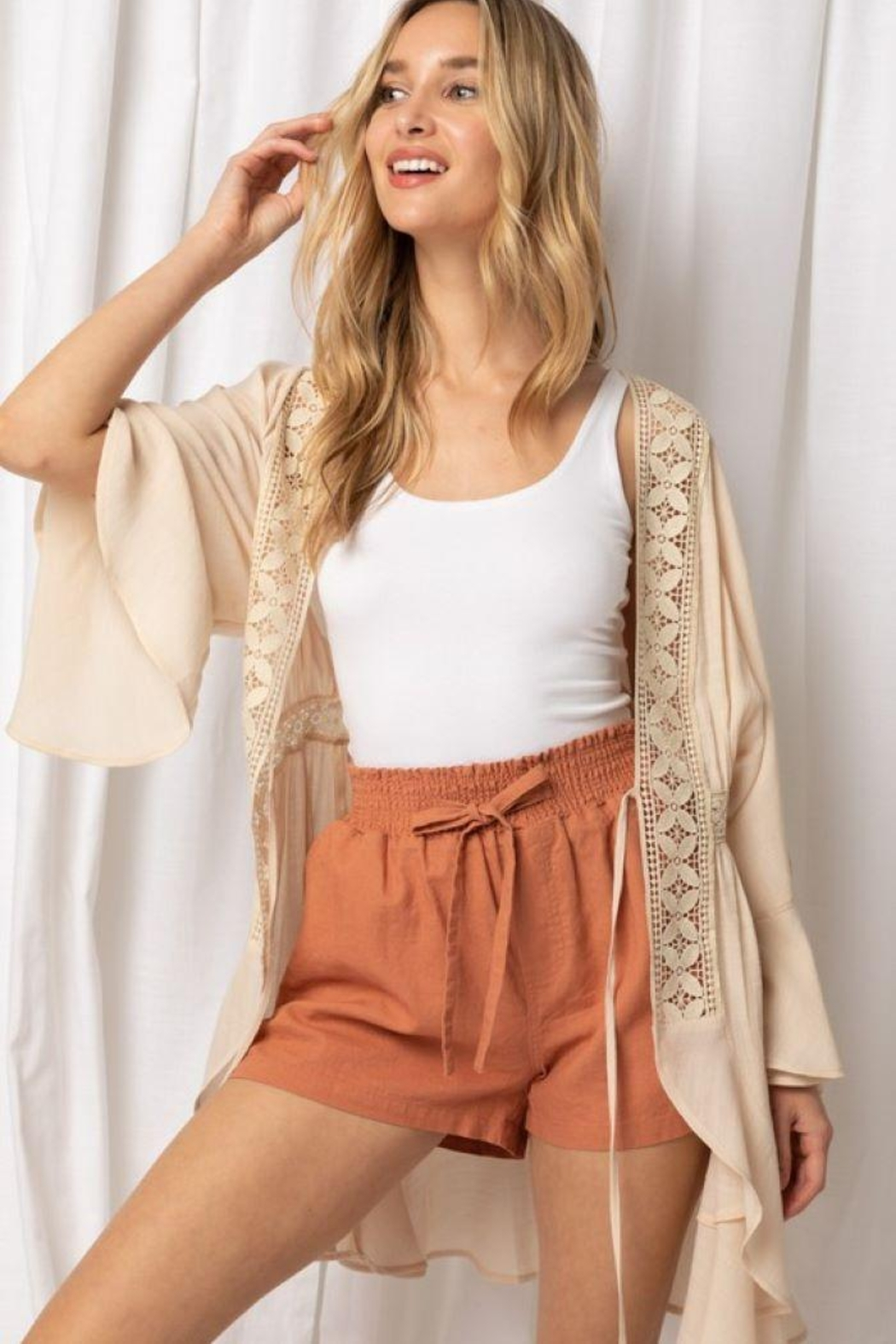 Love Tree Woven Fashionable Cardigan - Front Full Image