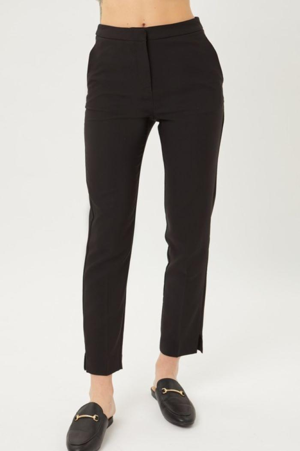 Love Tree Woven Solid Formal Ankle Pants - Side Cropped Image