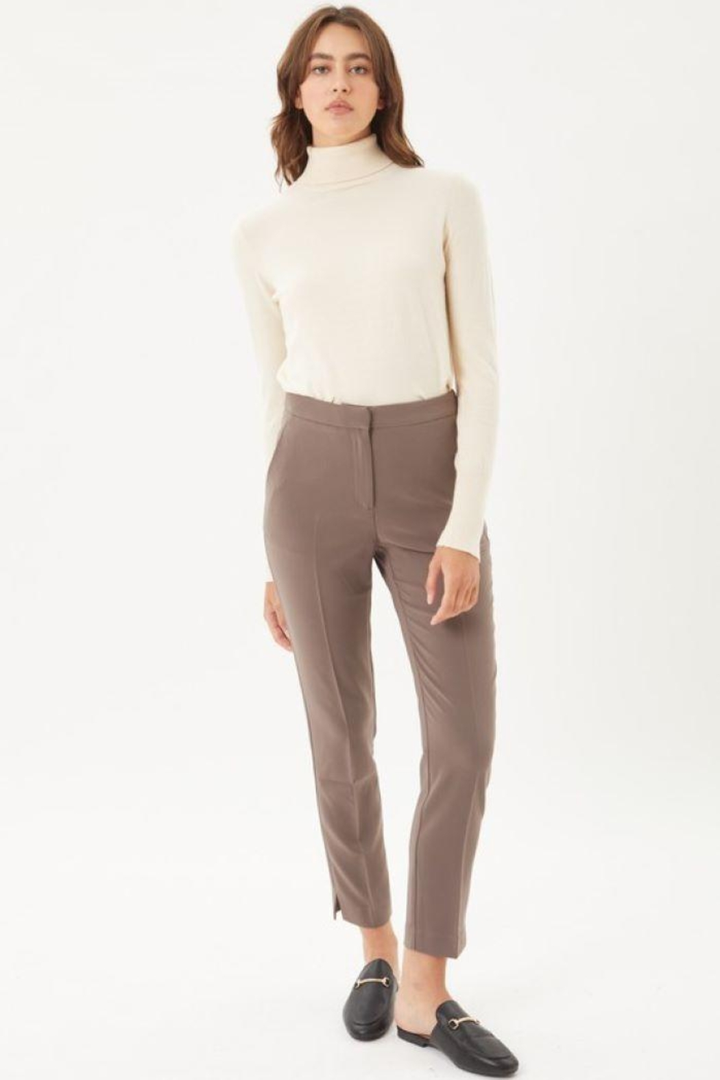 Love Tree Woven Solid Formal Ankle Pants - Front Cropped Image