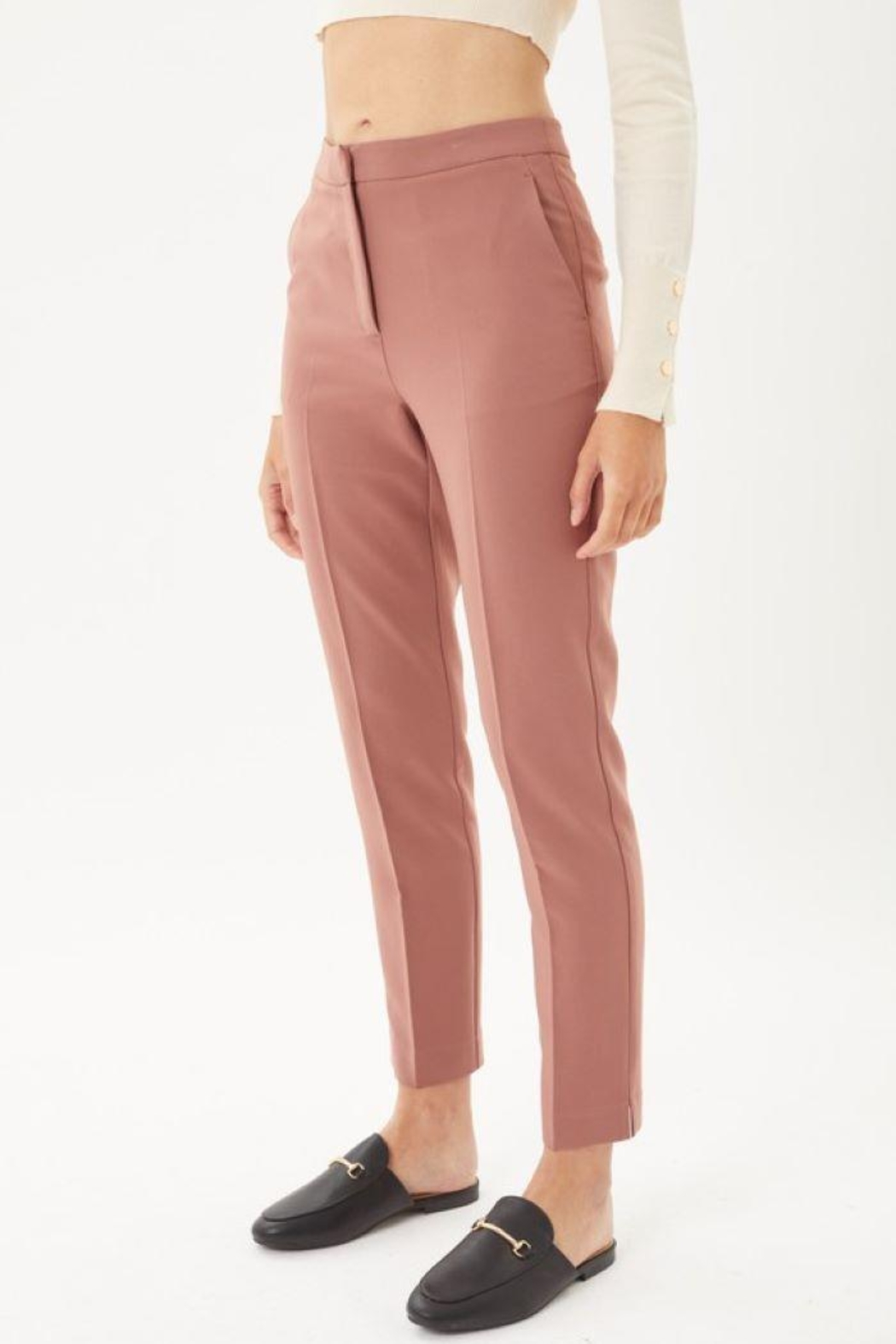 Love Tree Woven Solid Formal Ankle Pants - Main Image