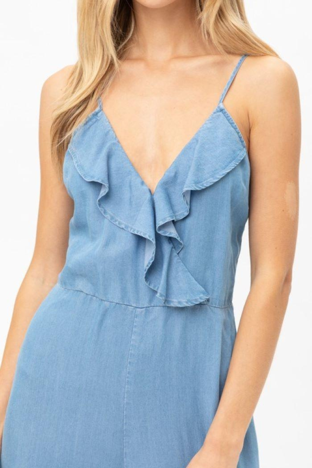 Love Tree Woven Solid Ruffled Jumpsuit - Main Image
