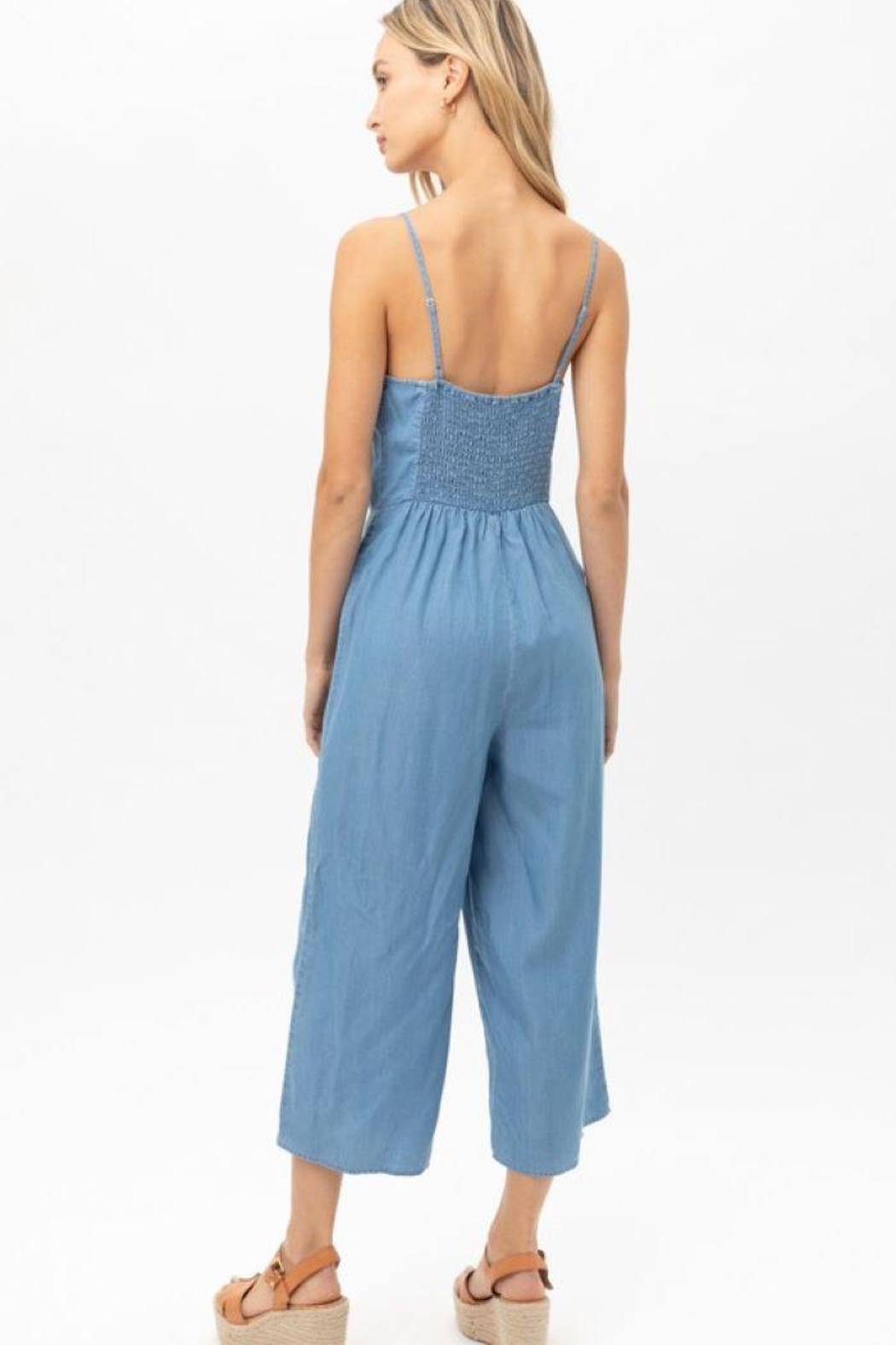 Love Tree Woven Solid Ruffled Jumpsuit - Back Cropped Image
