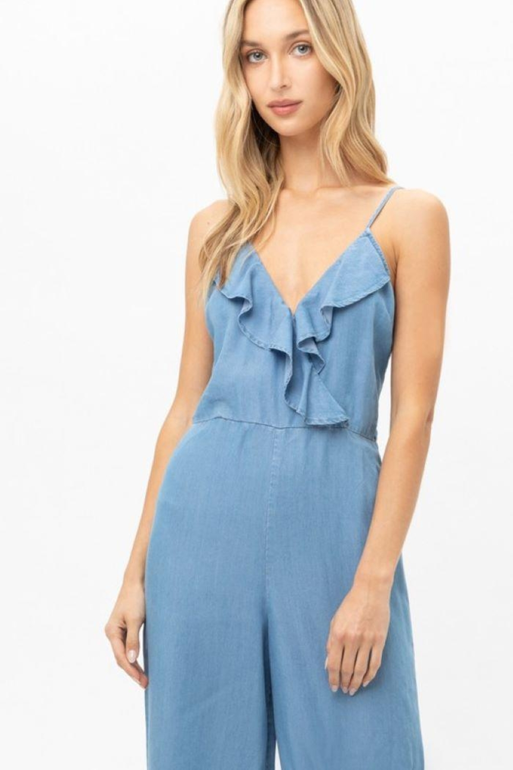 Love Tree Woven Solid Ruffled Jumpsuit - Side Cropped Image