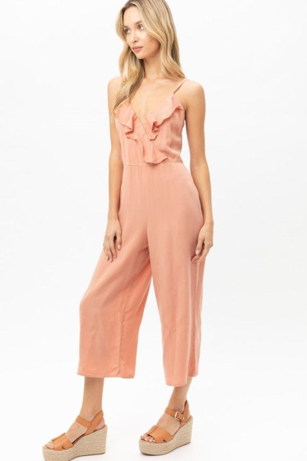 Love Tree Woven Solid Ruffled Jumpsuit - Front Full Image