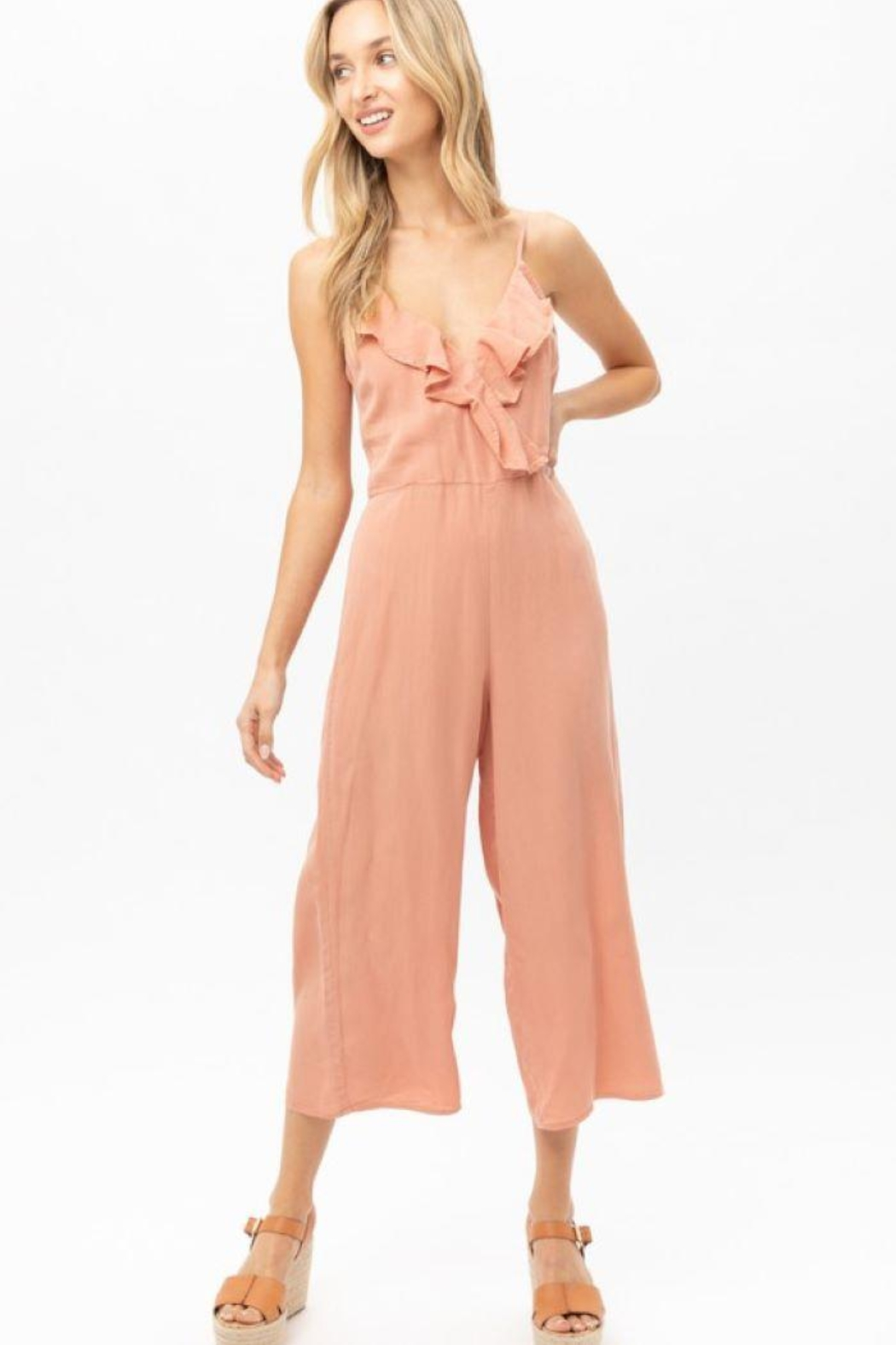 Love Tree Woven Solid Ruffled Jumpsuit - Front Cropped Image