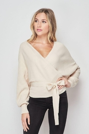 Love Tree Wrap Style Ribbed Sweater Top - Product Mini Image