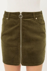 Love Tree Zip Up Corduroy Mini Skirt - Front cropped