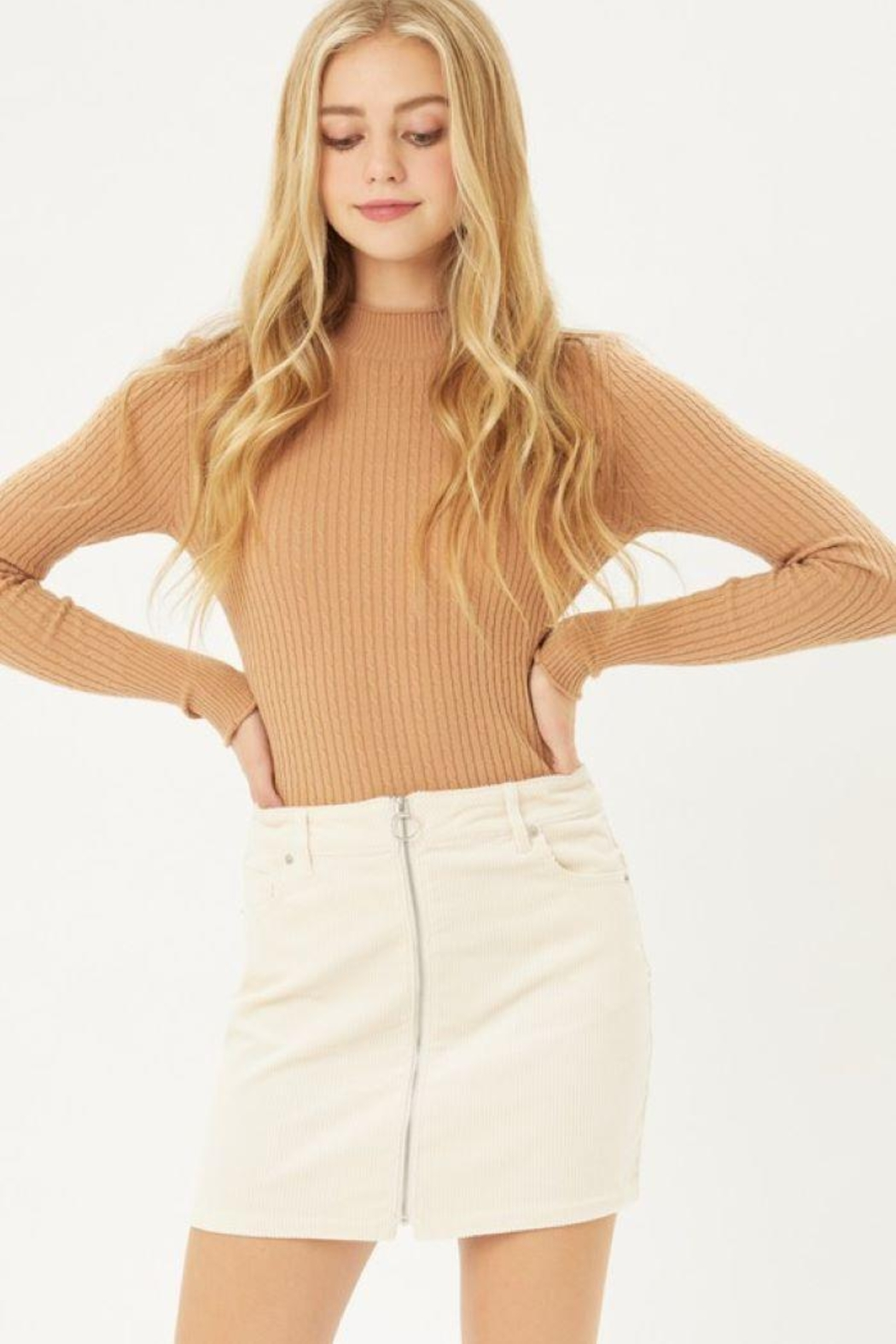 Love Tree Zip Up Corduroy Mini Skirt - Front Cropped Image